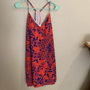 Coral/blue racer back shift dress
